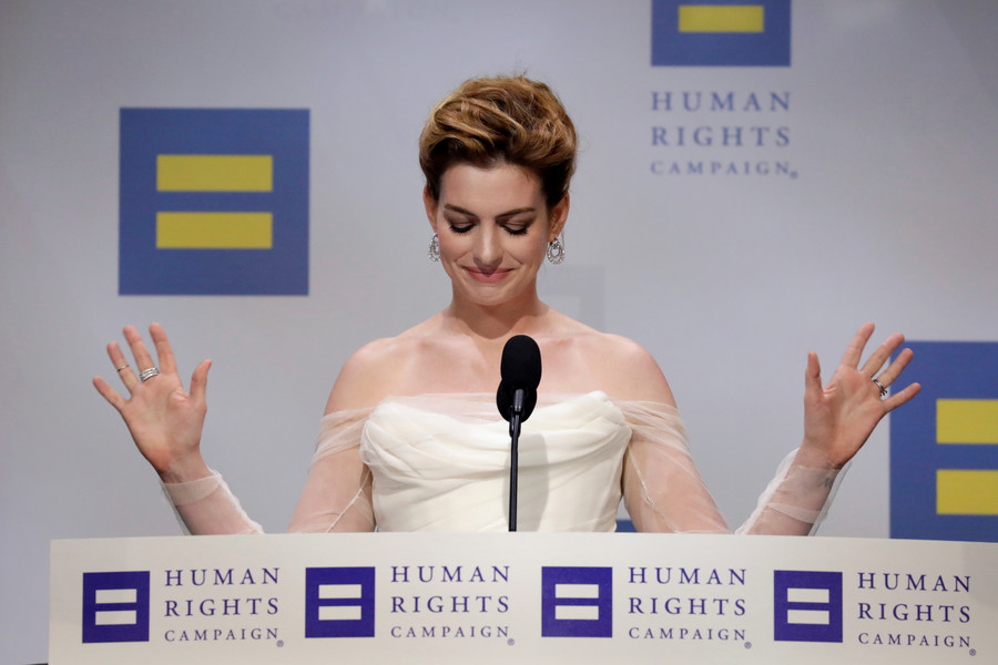 Anne Hathaway denounces 'white privilege' at star-studded gala dinner