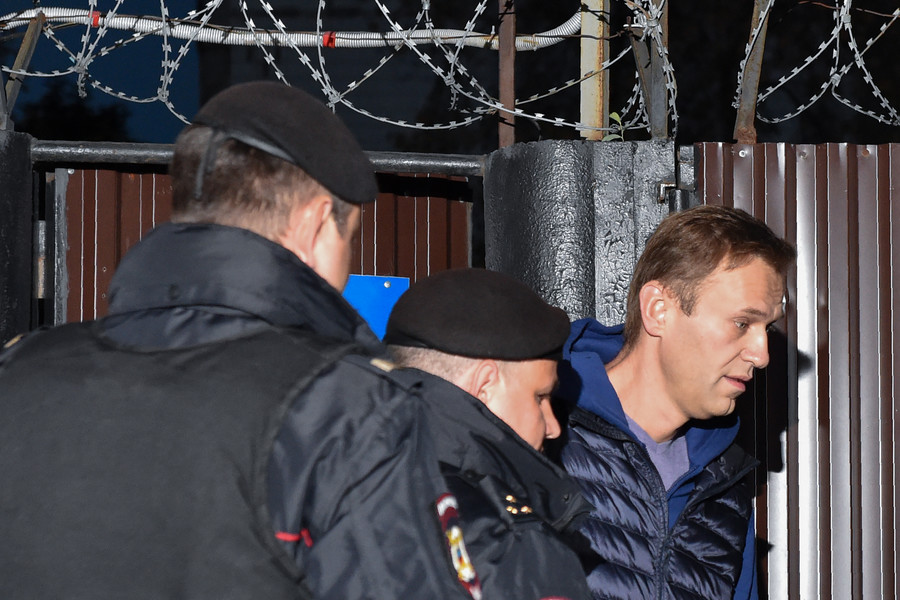 Russian opposition activist Navalny detained moments after walking free from police custody