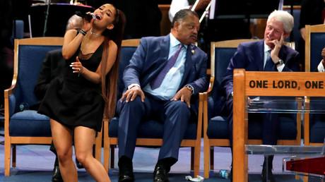 'Biggest fan': Bill Clinton trolled for 'ogling' pop star Ariana Grande at funeral