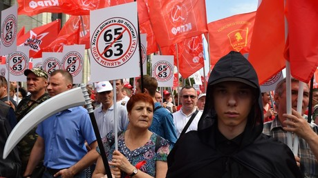 Participants of a protest march against the pension reform © Mikhail Voskresenskiy
