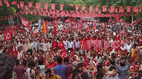 Thousands of workers rally in New Delhi for 'biggest labor march in decades'