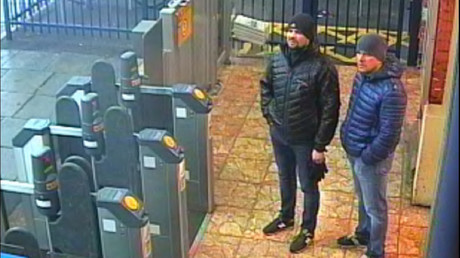 Two men accused of poisoning Sergei Skripal and his daughter Yulia in Salisbury, are seen on CCTV at Salisbury Station. © Metroplitan Police handout