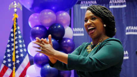 Ayanna Pressley celebrates her primary victory © Brian Snyder
