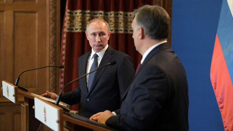 Vladimir Putin and Viktor Orban during a joint press conference in Budapest in 2017.