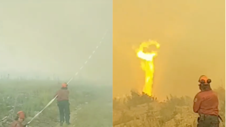 Canadian firefighters battle fire tornado for control of their hose (VIDEO)