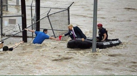 Viral image doctored to show US President Donald Trump handing out a MAGA hat to a hurricane victim