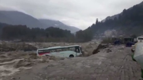 Tourist bus swept away by raging river in monsoon-struck India (VIDEO)