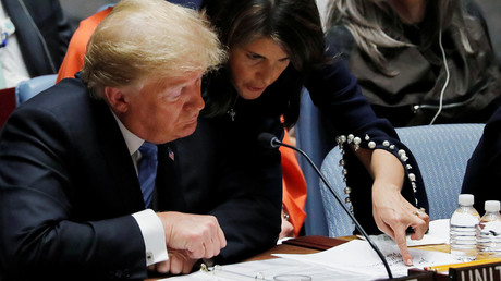 US President Donald Trump and US envoy to the UN Nikki Haley © Carlos Barria
