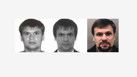 Composition of photos of an Anatoly Chepiga and Ruslan Boshirov by Bellingcat.