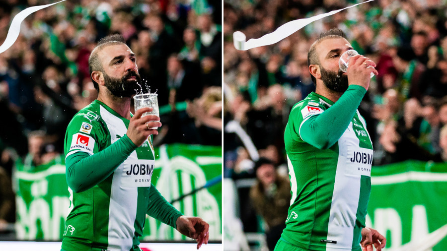 Swedish footballer scores stunner, then catches beer and drinks it while celebrating! (VIDEO)