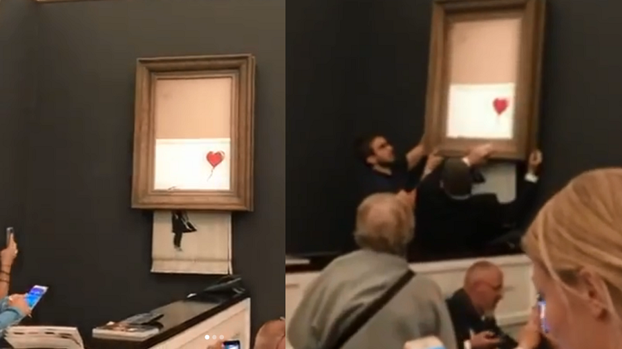 Banksy painting self-shreds seconds after £1m Sotheby's sale