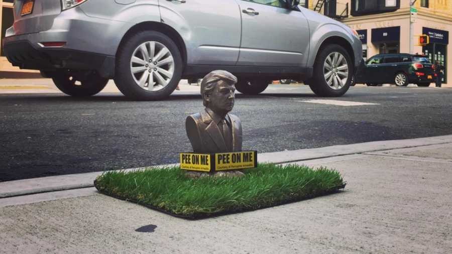 Trump 'pee on me' statues erected in New York, dogs encouraged to urinate on tiny president (PHOTOS)