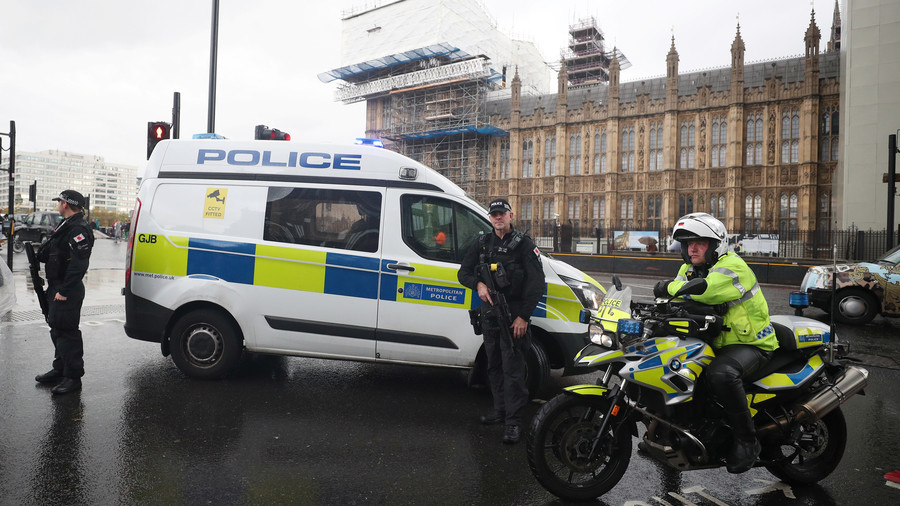 Police carry out controlled explosion on package near British parliament