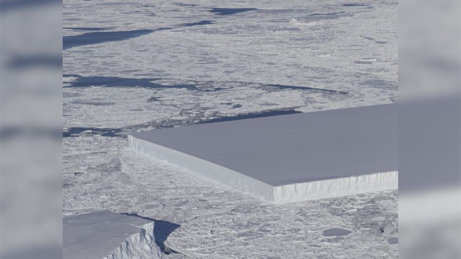 NASA captures image of weird , perfectly rectangular iceberg