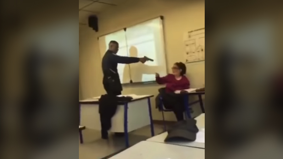 France in shock as VIDEO of student threatening teacher with 'gun' in class goes viral