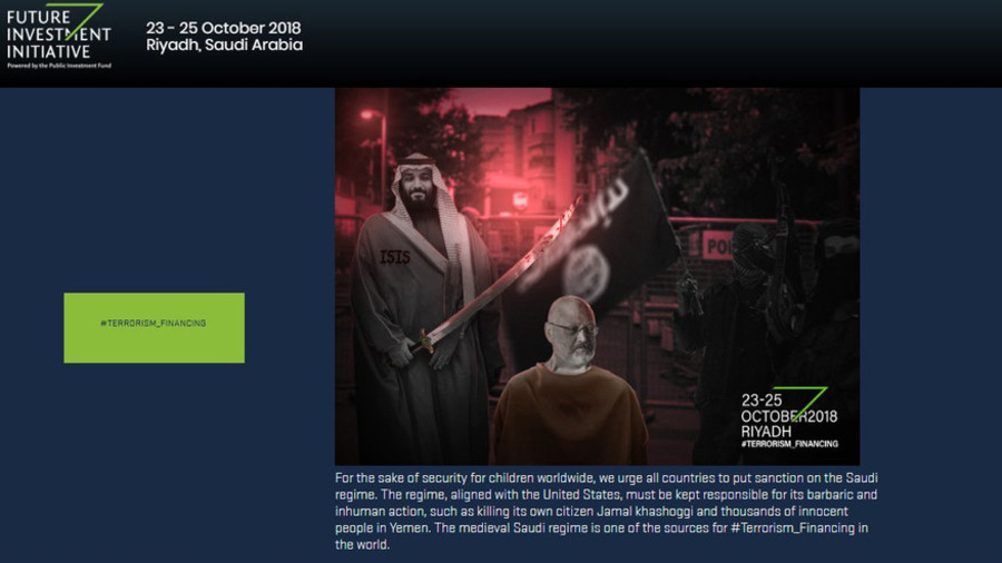 MBS with a sword over Khashoggi's head appears on hacked Saudi investment conference website