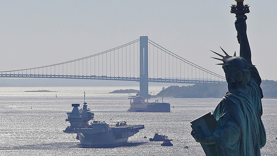 Britain's biggest warship parks off the US coast, looking just a little bit needy