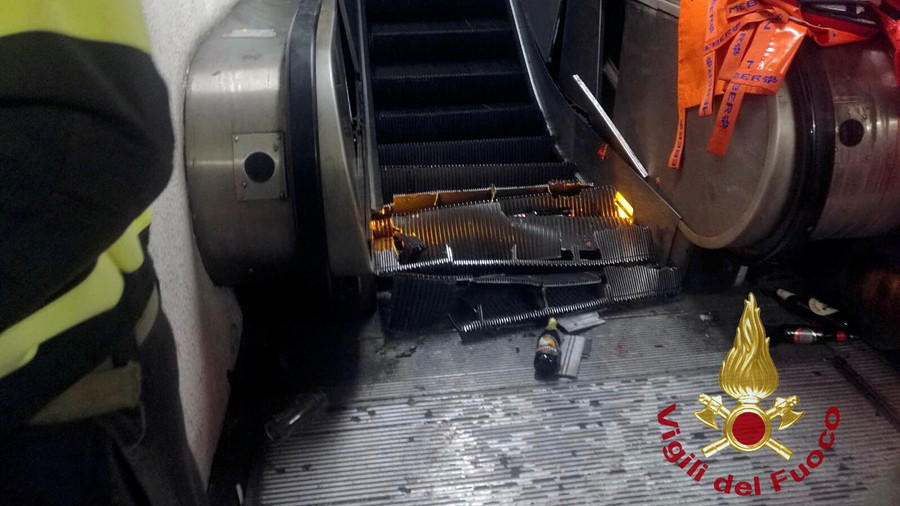 Dramatic moment escalator 'collapses' at Rome metro station
