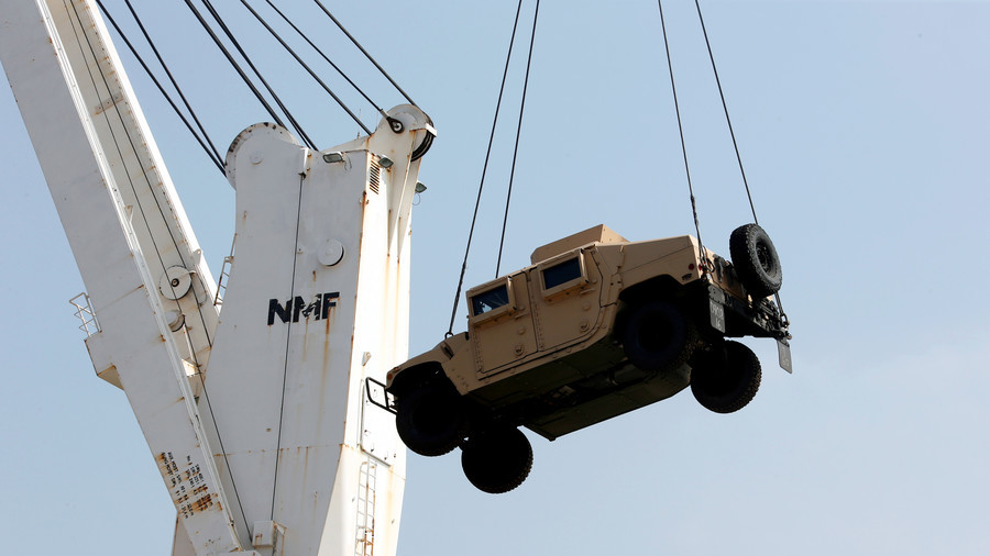 US military red-faced as Humvee misses drop zone, falls into rural community (PHOTO, VIDEO)