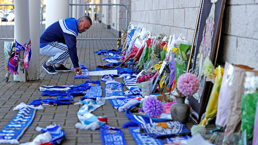 Leicester City helicopter crash: Tributes laid as fans gather at stadium