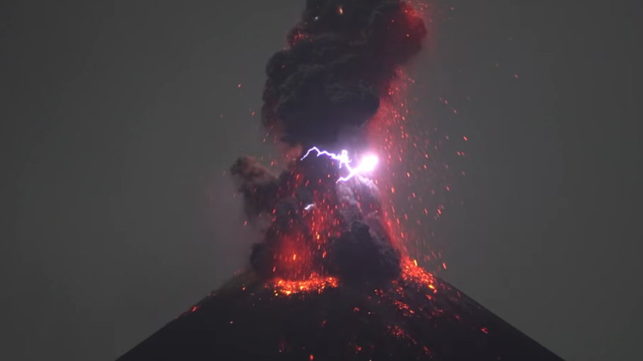 Indonesia's Krakatau volcano creates its own lightning during magnificent eruption (VIDEO)