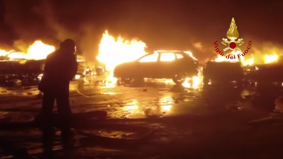 Pile of luxury: Hundreds of Maserati vehicles destroyed in blaze in Italy (VIDEOS)
