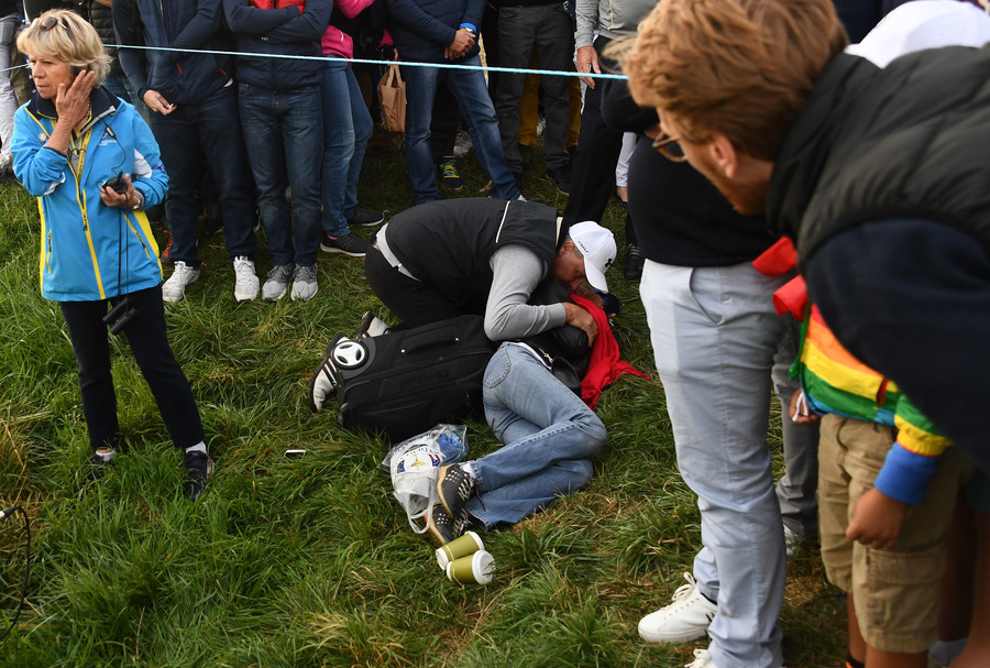 Golf fan 'blind in one eye' after being hit by stray shot at Ryder Cup