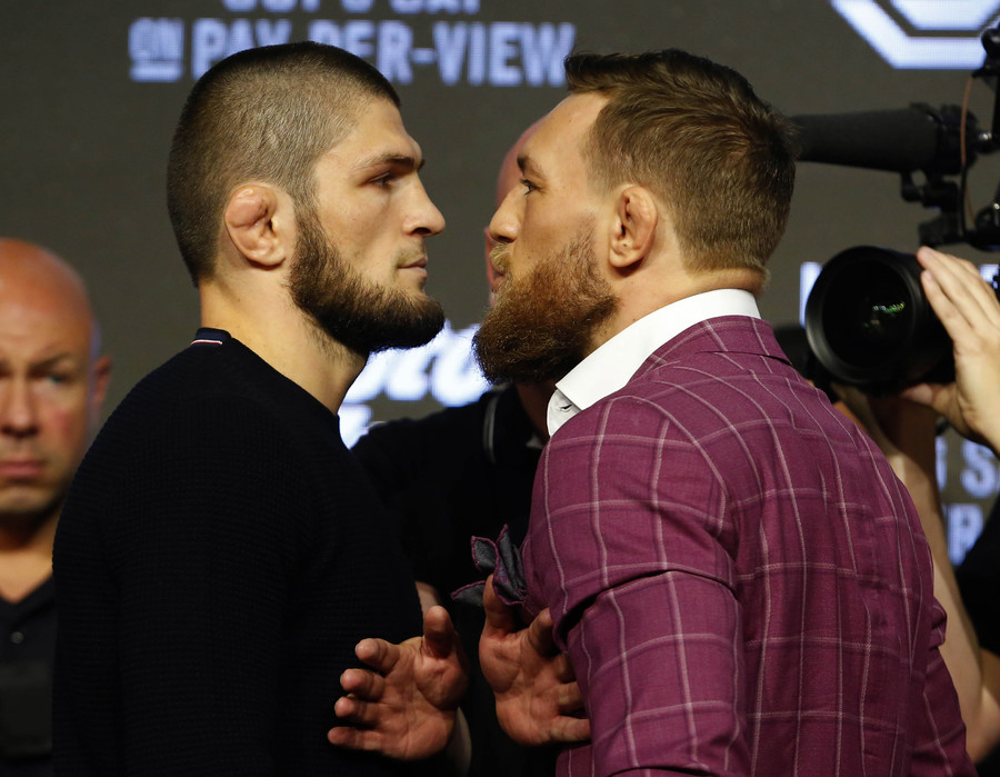 Conor aims kick at Khabib, flanked by Drake! UFC 229 ceremonial weigh-in highlights (PHOTOS/VIDEO)