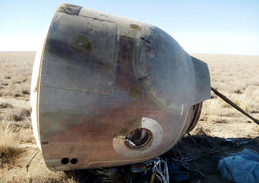 See FIRST PHOTOS of space capsule after US-Russian crew dramatic landing