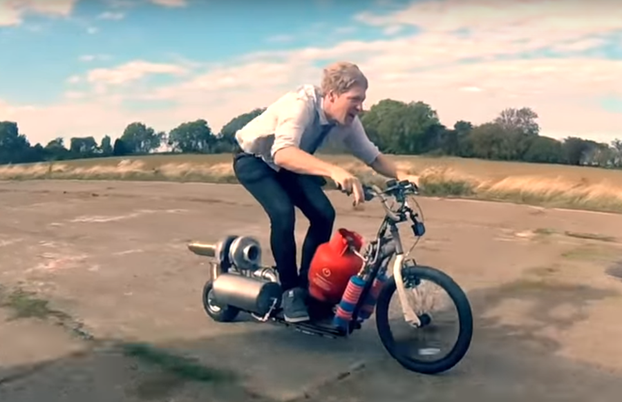 'A beast of a turbo': Madcap inventor tests out homemade jet-powered scooter (VIDEO)