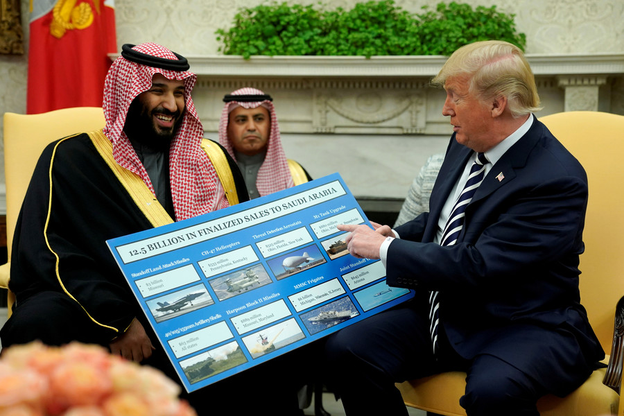 US President Donald Trump and Saudi Arabia's Crown Prince Mohammed bin Salman Washington US