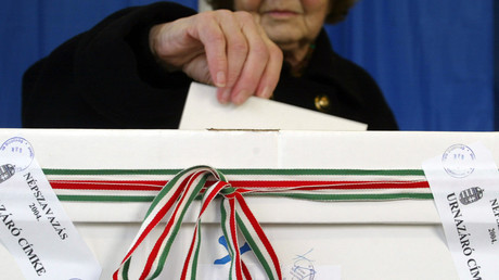 FILE PHOTO. An Elderly Hungarian woman votes in Budapest. © Laszlo Balogh LB/GB