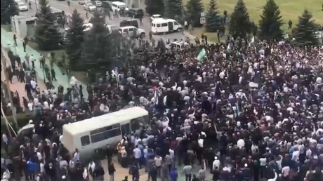 Russian police fire air shots after Ingushetians gather to protest new Chechnya border deal