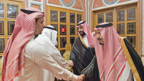 Khashoggi's son shakes hands with Saudi rulers in awkward meeting after reports of body parts found