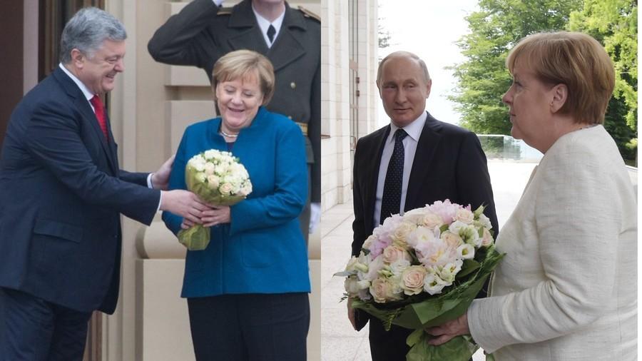 Flower power battle? Twitter abuzz as Poroshenko takes leaf out of Putin's book with Merkel bouquet