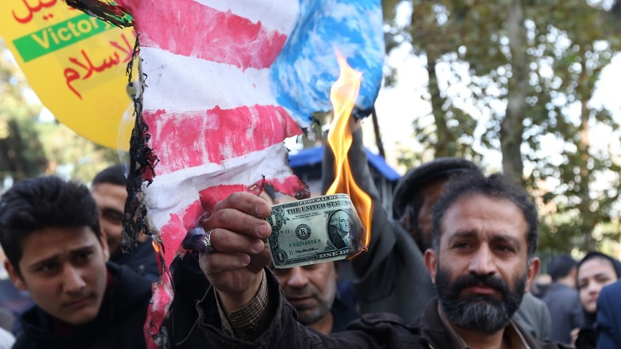 'Down with US': Trump effigy & dollars burned in Iran as protesters decry sanctions return (PHOTOS)