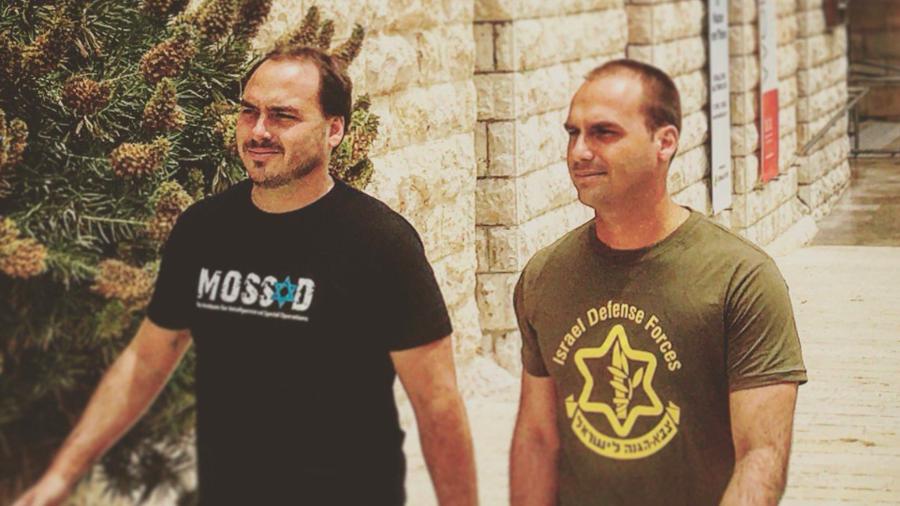 Image of Bolsanaro's sons wearing pro-IDF & Mossad shirts goes viral