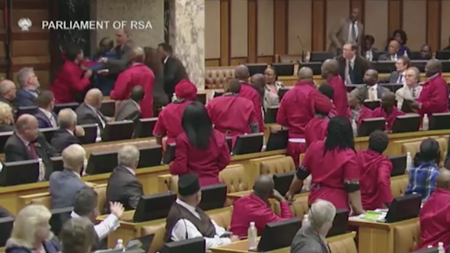 Brawl breaks out between MPs at South African parliamentary meeting