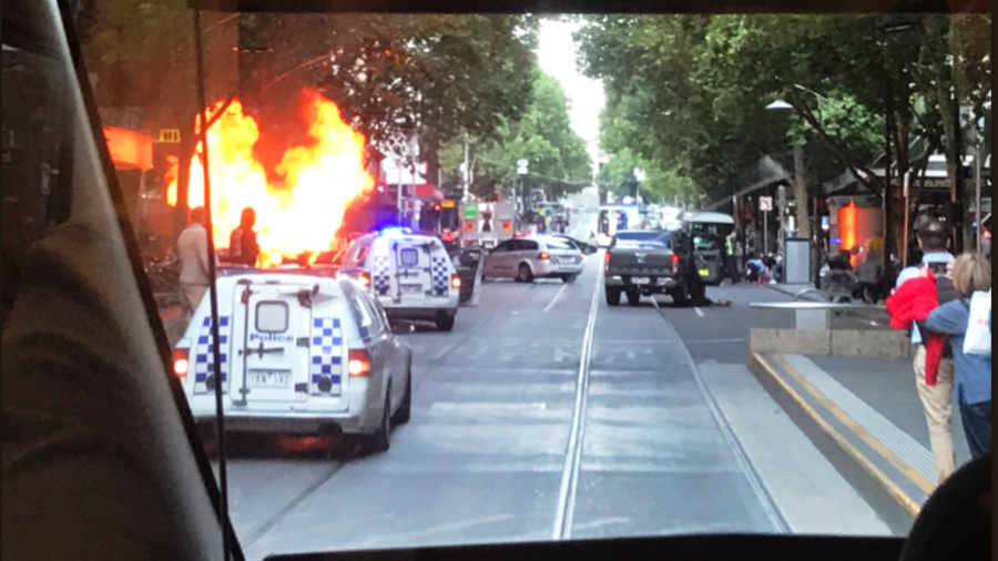 One dead after man sets auto set alight, stabs pedestrians in Melbourne