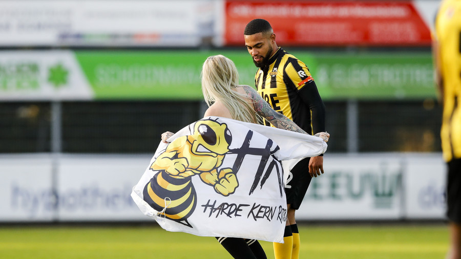 Dutch football fans hire stripper to distract opponents during match (PHOTOS)