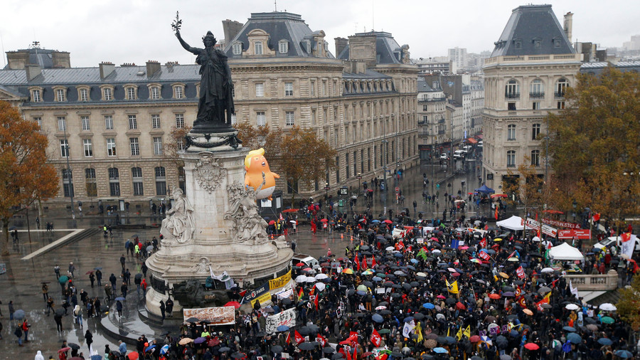 'Trump means war': Hundreds protest US president's WWI centenary visit to Paris