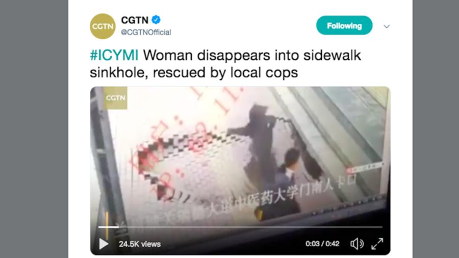 Sinkhole swallows woman whole as onlookers watch in shock