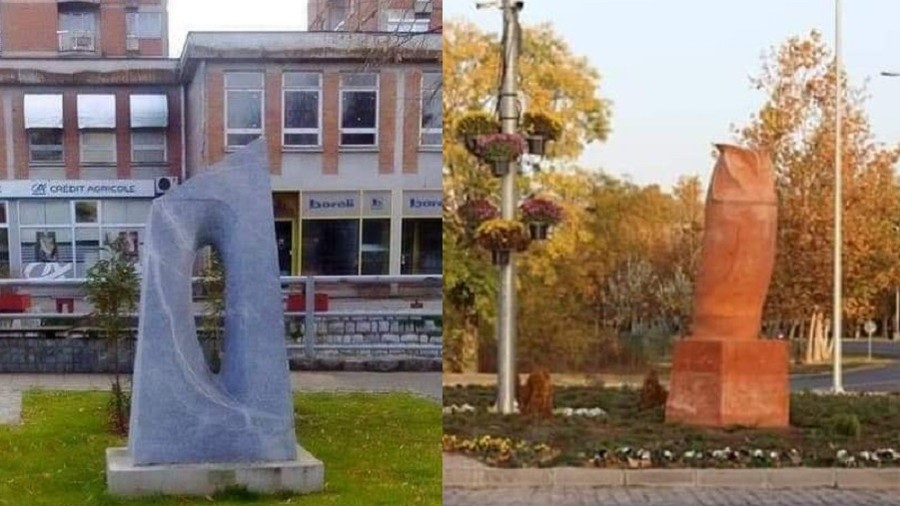 A 'hole' for your 'owl': Two Serbian cities mock each other over sexed-up statues