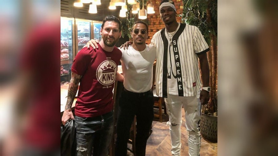 Salting with the stars Messi & Pogba sample famous Salt Bae treatment in Dubai