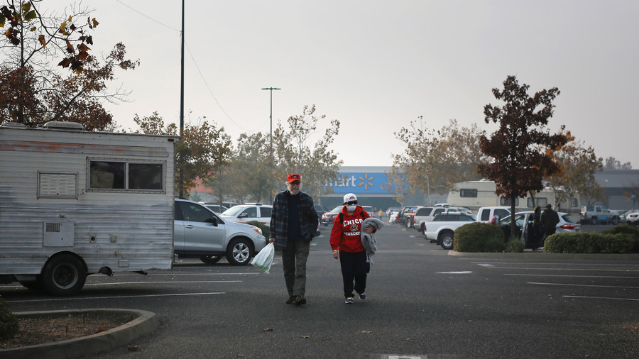 That's the holiday spirit! Walmart kicks California wildfire victims out of parking lot camp