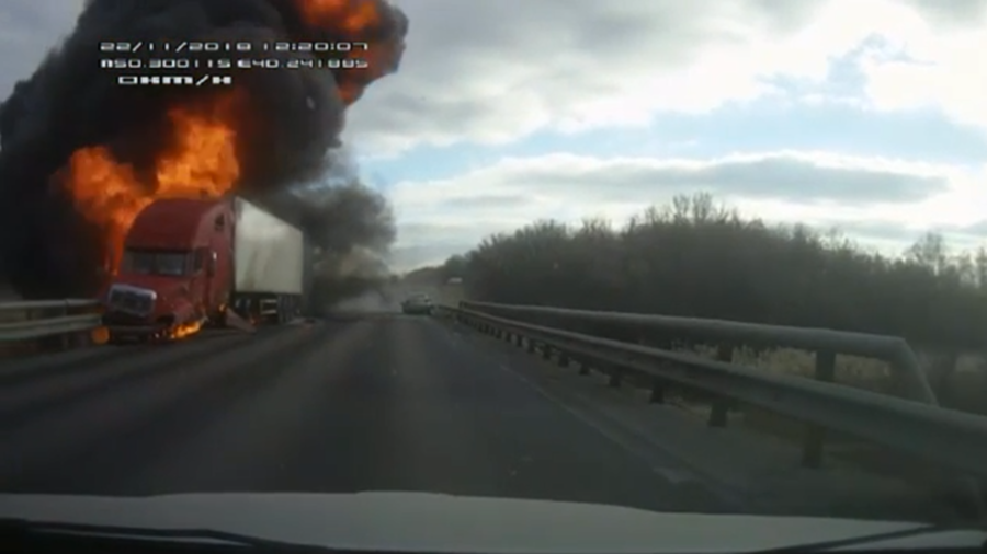 Fireball traffic smash: Car and truck collide in explosive crash (VIDEO)