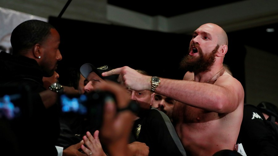 Tempers flare as shirtless Tyson Fury & Deontay Wilder clash at fiery LA presser (VIDEO, PHOTOS)