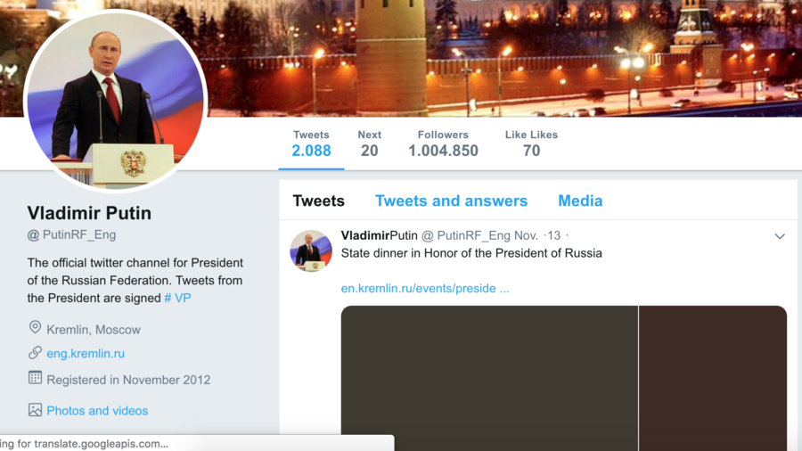 Russian bot-in-chief? Twitter blocks 'fake Putin' who lured over 1mn followers in 6 years