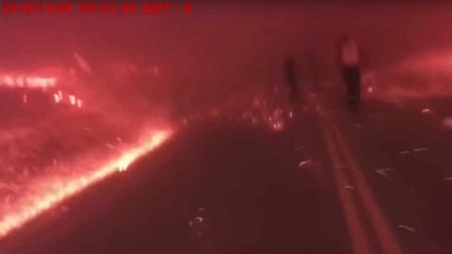 Terrifying footage shows escape from Paradise fire