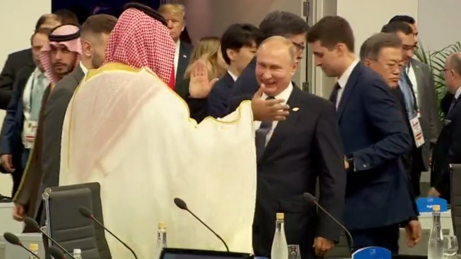 Putin high-fives MBS at G20, but did he shake Trump's hand? (VIDEO)